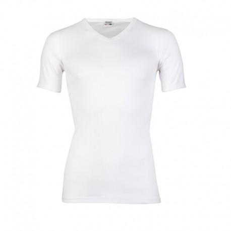Heren T-shirt korte mouw, v-hals. Wit. m3000